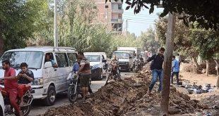 شلل مروري بقرية البصارطة بسبب اعمال الحفر من قبل شركة الاتصالات المصرية