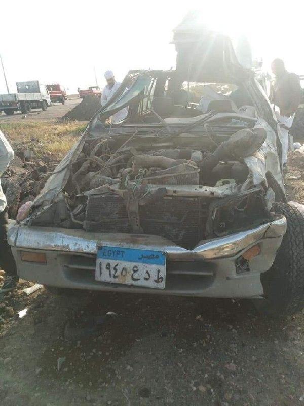 مصرع شخص واصابة ثلاثة من ابناء دمياط فى حادث تصادم برشيد