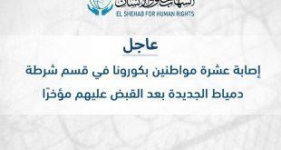 متابعات :  إصابة عشر مواطنين بكورونا في قسم شرطة دمياط الجديدة بعد القبض عليهم مؤخرًا